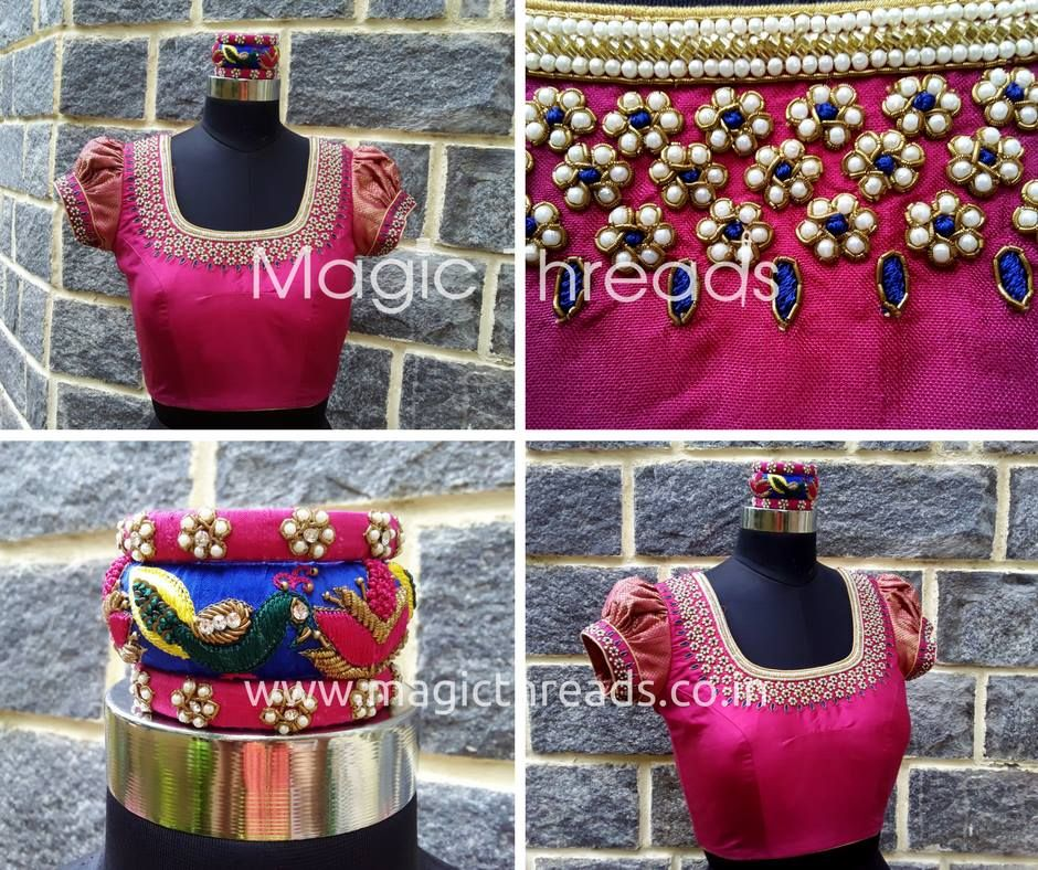 3794bdcd446865 Designer blouses, bridal blouses, maggam work blouses, Hand-embroidery  blouses, party wear blouses