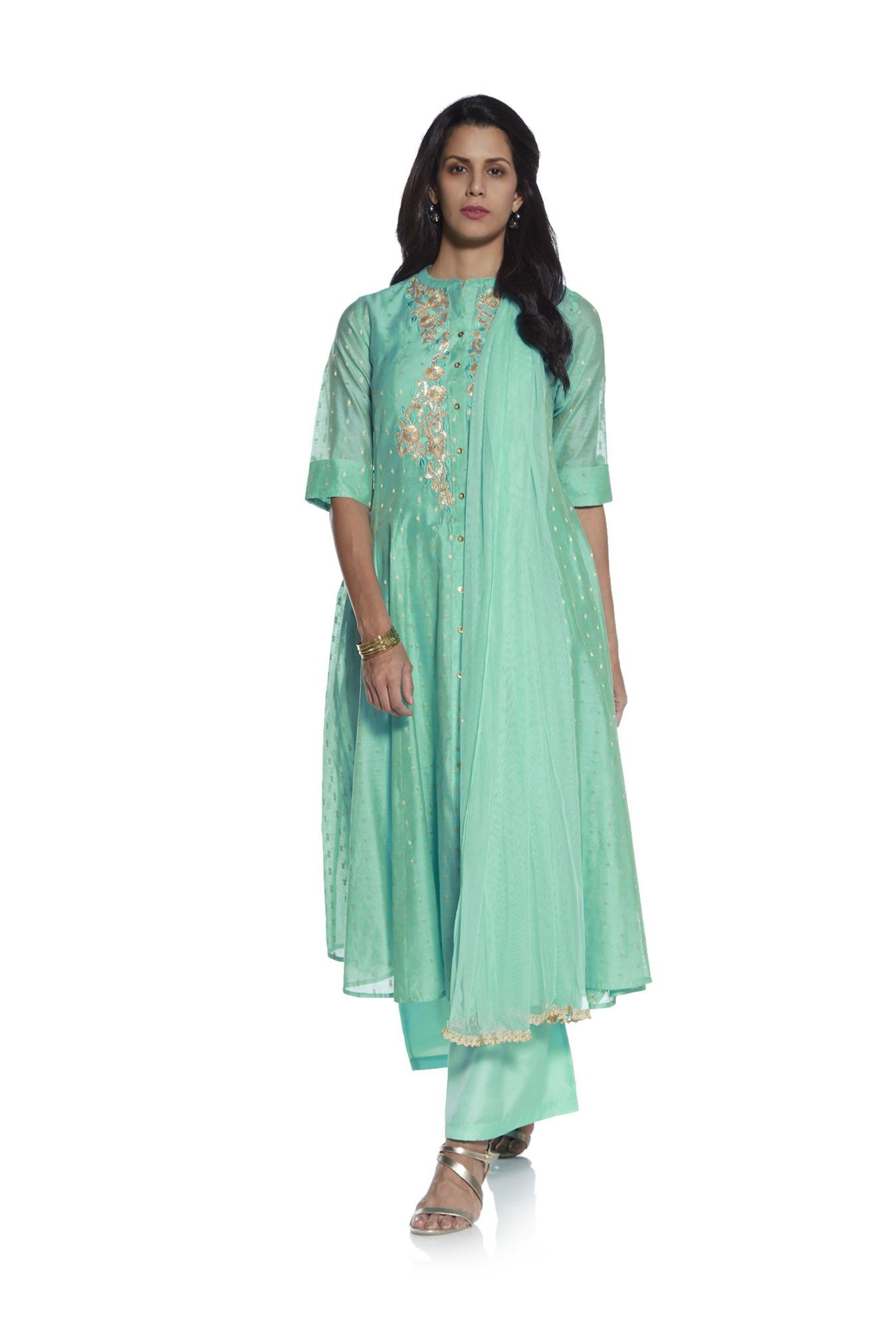 31134752d5a Vark by Westside Sea Green Floral Palazzo Ethnic Set -