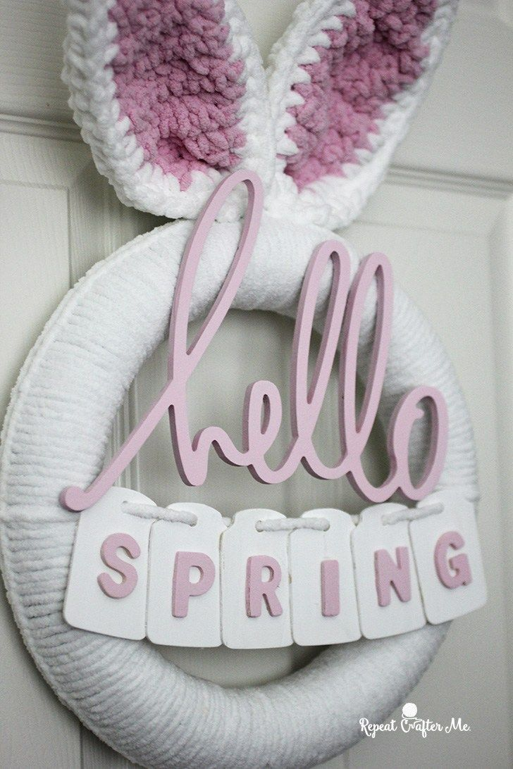 Photo of Crochet Spring Bunny Wreath – Repeat Crafter Me