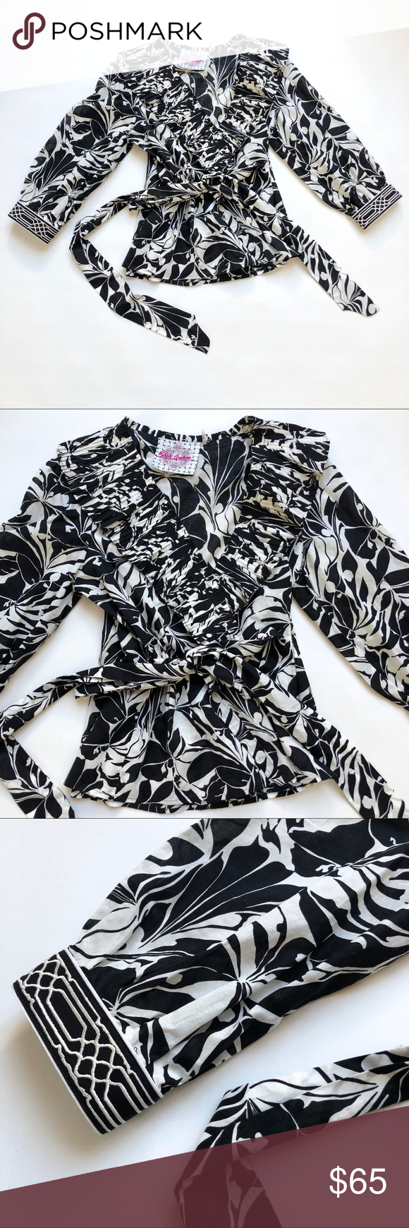 Robert Graham Floral Ruffle Collar Faux Wrap Top Robert Graham Black White Floral Pleated Ruffle Collar Faux Wrap Top  Size: petite small Color: Black & White  3/4 sleeve V neck Adjustable wrap waist Ribbon belt tie  Pleated ruffle collar Embroidered detail on cuffs Black white floral graphic print Cotton Excellent condition  Measurements are pictured Robert Graham Tops Blouses