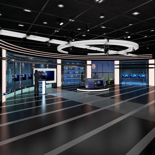 Tv Virtual Stage News Room 3d Model 3d Tv Virtual Stage