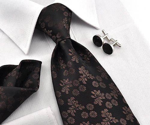 dd3ba7d3767500 ME TAI Jacquard brown black silk Classic Mens Tie Necktie set Cufflinks  Hanky - I recently purchased this for his career clothes so he'd look  rather ...
