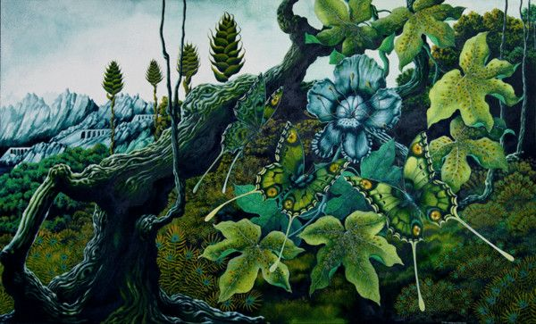 UNA WOODRUFF (worked from c.1980)    Eyes of the Forest - Amarant by Una Woodruff (c. 1980	 England)