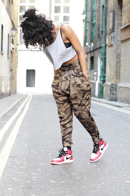 Camo Harem Pants And Red White High Top Nikes Shoes Pinterest White High Tops Camo And