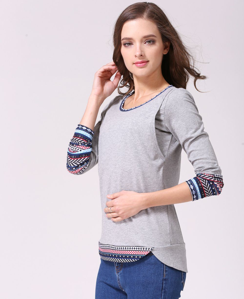 f725948c7d234 nursing tops - Emotion Moms New Patchwork Long Sleeve Maternity Clothes  Nursing Tops Breastfeeding Tshirt Grey Large *** Read more at the image  link.