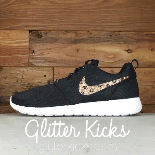 Nike Roshe One Customized by Glitter Kicks - BLACK WHITE With Leopard Print  Crystals dcd68b375