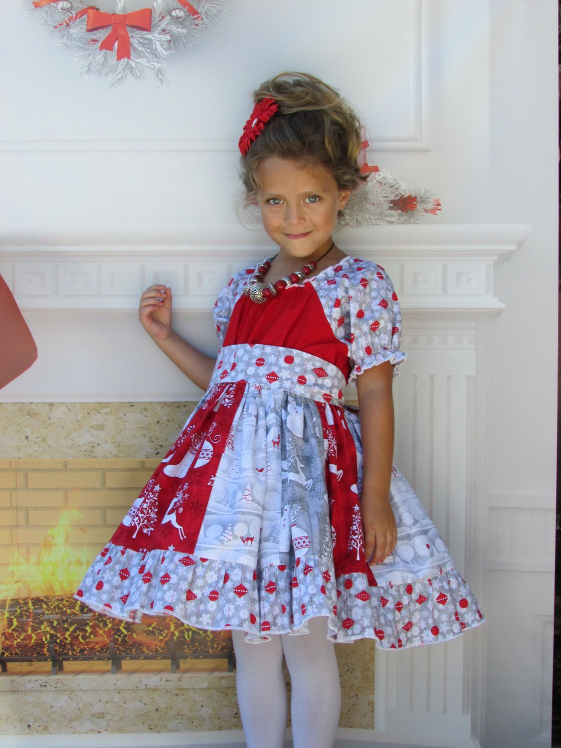 Toddler Christmas Dress.Girls Christmas Dress Holiday Frost Stripwork Peasant