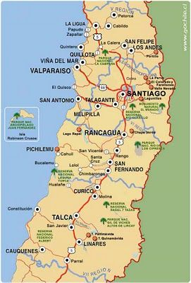 mapa zona centro MAPA ZONA CENTRO DE CHILE Corresponde a las Regiones de Valparaiso  mapa zona centro