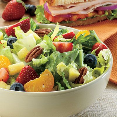 Panera Strawberry Poppyseed Salad Copycat Recipe 6 Cups Romaine Lettuce Chopped 1 Cup Slice Strawberry 1 Cup Fresh Blueberries 1 Cup Mandarin Orange 1 Cup