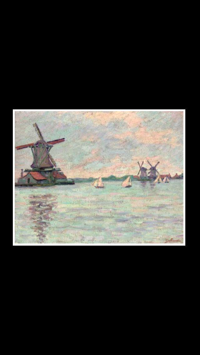 """Armand Guillaumin - """" Moulins en Hollande """", c. 1904 - Huile sur toile - 31,5 x 39,8 cm"""