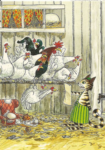 A Cat and chickens by Sven Nordqvist | Postcard art, Art, Whimsical art