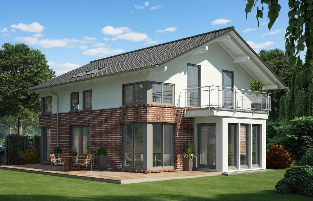 Modernes Einfamilienhaus Klinker  Putz Fassade Satteldach - Haus