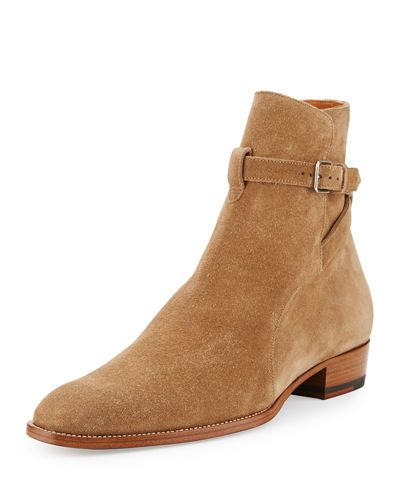 6af838a7d20 M2QY4 Saint Laurent Wyatt 40mm Suede Jodhpur Boot, Light Cigar ...