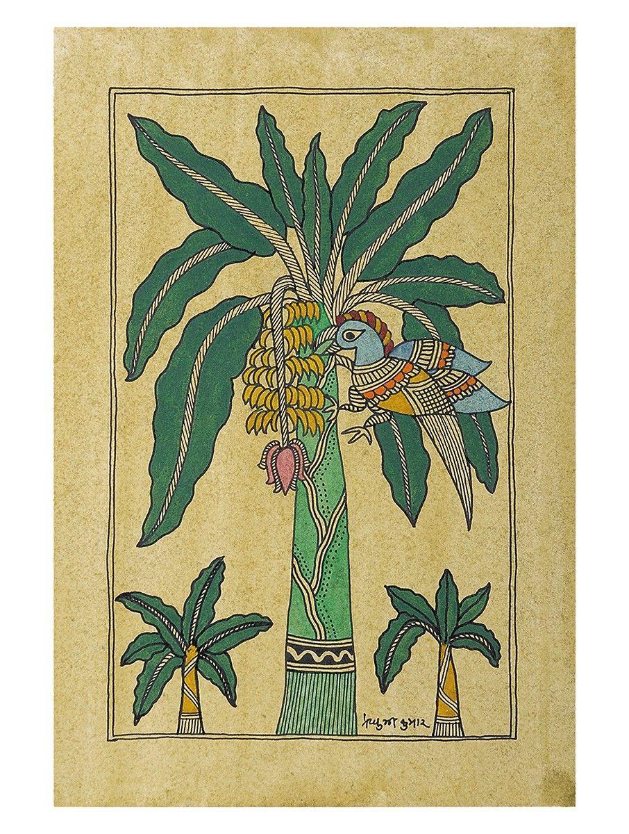 Buy Peacock on a Plantain Tree Madhubani Artwork on Handmade Paper ...