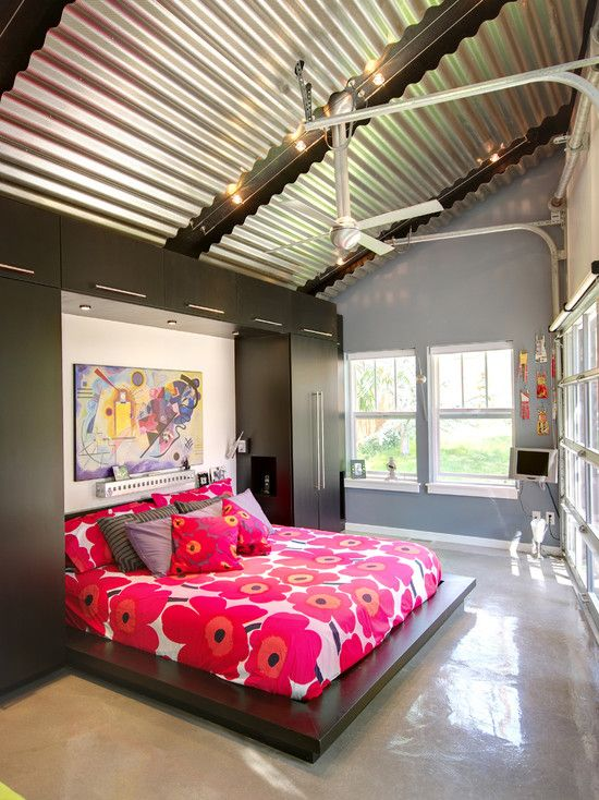 Bedroom Corrugated Steel Design Pictures Remodel Decor And Ideas Contemporary Apartment