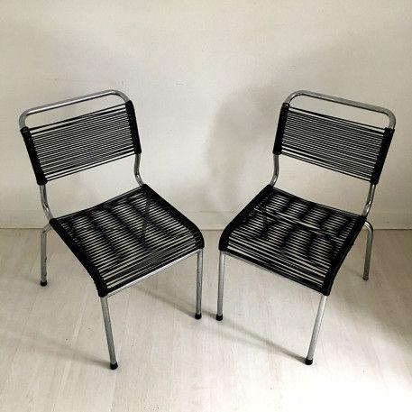 Chaises scoubidou noires vintage chair chaise scoubidou - Chaise scoubidou vintage ...