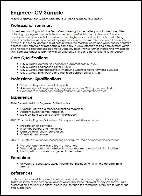 Engineer CV Sample Curriculum Vitae Builder Word doc