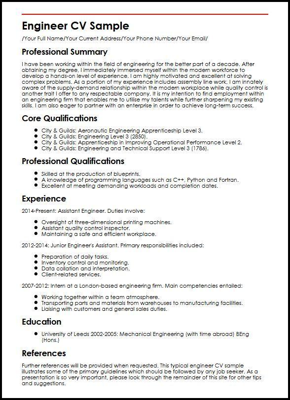 Engineer Cv Sample Curriculum Vitae Builder Cv