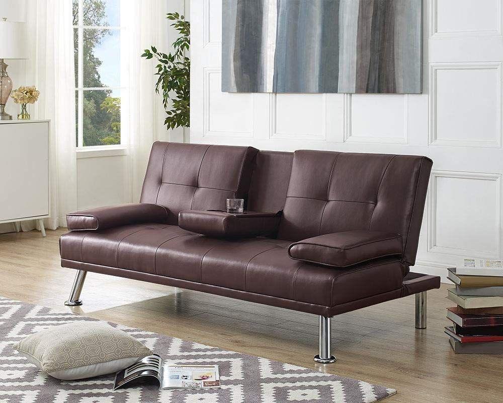 detailing 8077d e4280 Amazon.com: Naomi Home Futon Sofa Bed with Armrest Espresso ...