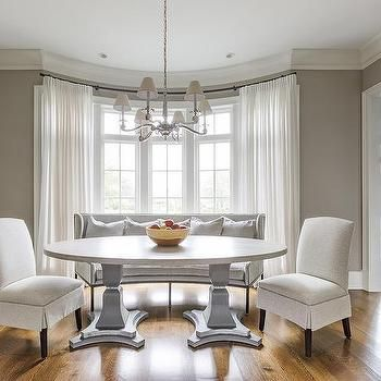 Oval Pedestal Dining Table In Bay Window Dining Room Windows Pedestal Dining Table Transitional Dining Room