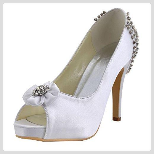 Kevin Fashion Damen Modische Hochzeitsschuhe Weiss Blanco