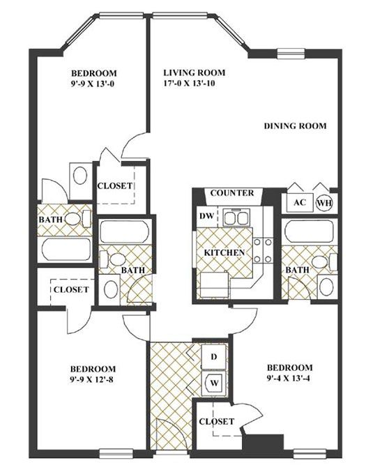 3br 3ba At Looking Glass Apartments Floor Plans Apartment Building House Design