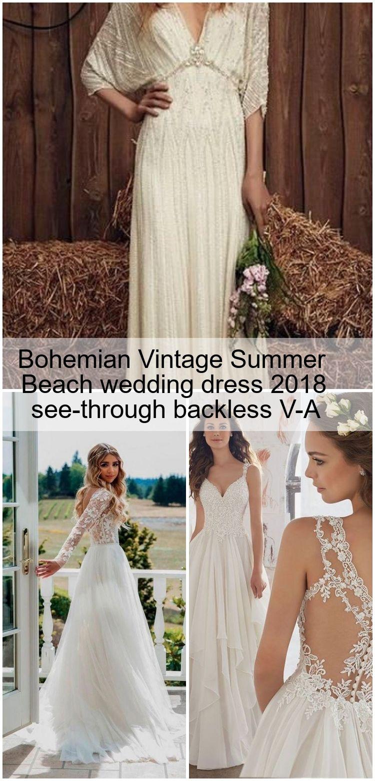 Bohemian Vintage Summer Beach wedding dress 20 see through ...