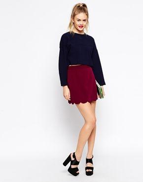 ASOS A Line Mini Skirt with Scallop Hem
