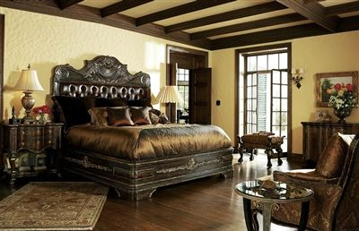 Best High End Master Bedroom Set Carvings And Tufted Leather 400 x 300
