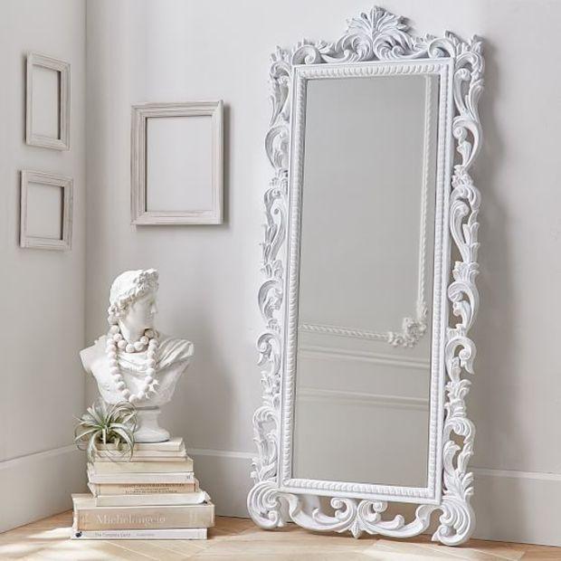 Lennon & Maisy Ornate Wood Carved Floor Mirror   White & Gold Home ...