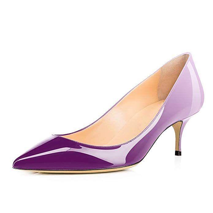 657334cb45446 UMEXI Women Pointed Toe Kitten Heels Slip On Office Pumps Classic ...