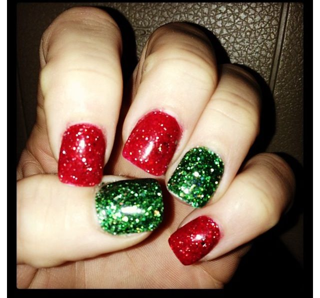 Peace Love And Polish Christmas Greens Tape Mani Green Nail Designs Green Nails Green Nail Art