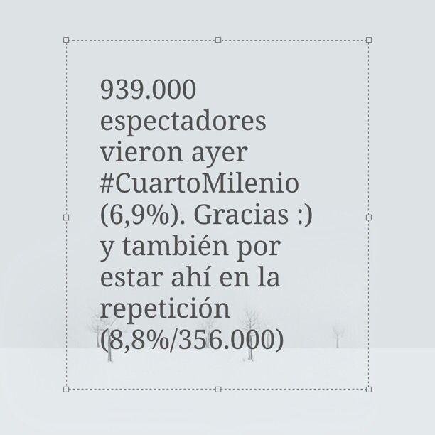 939.000 espectadores vieron ayer #CuartoMilenio (6,9%). Gracias :) y ...