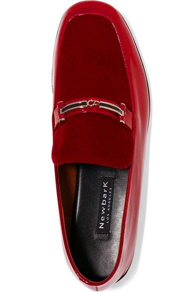 cd8bfc52f52 NewbarK - Melanie Velvet-paneled Patent-leather Loafers - Red