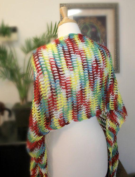 Loom Knitting Pattern Scarf Retangular Shawl Pattern Easy Knitting