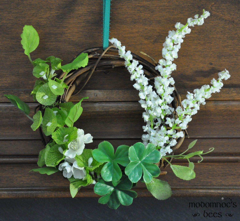 Ireland Wreath 6 Inch Grapevine Wreath Featuring Bells Of Ireland White Flower Sprigs And Shamrocks Wreaths Ireland Decor Grapevine Wreath
