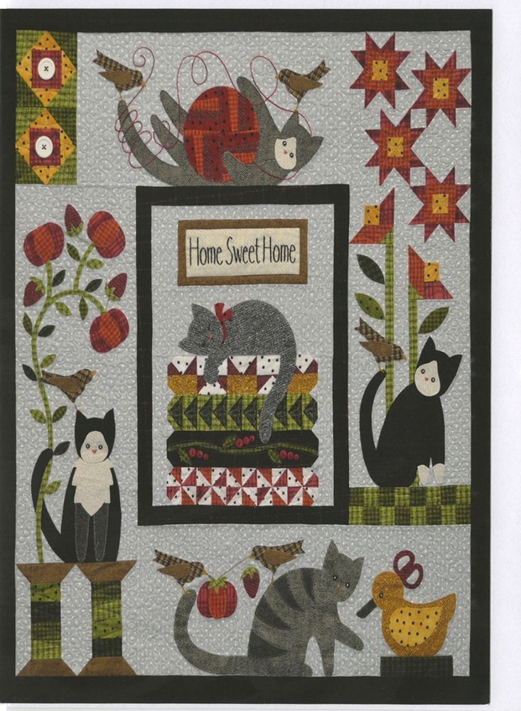 Purrfectly Pieced Wool/Woolies Flannel Applique COMPLETE Quilt Pattern & Buttons #AllThroughtheNight