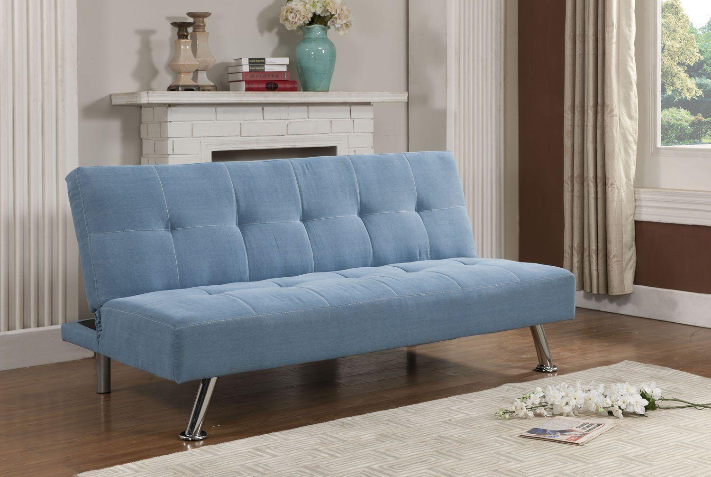 Kings Brand Blue Jean Fabric Adjule Back Klik Klak Sofa Futon Bed Sleeper