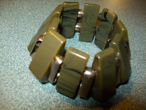 Chunky Green Black Dark Blue Swirl Bakelite Bracelet Strung on Stretch Cord | eBay