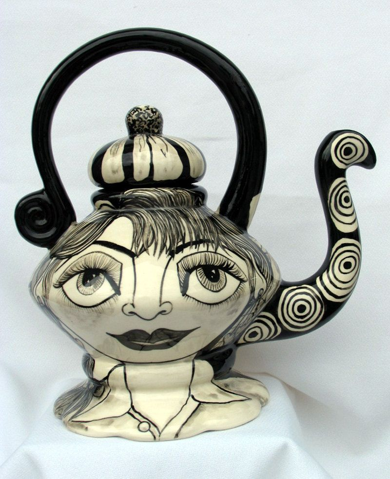 CERAMIC TEAPOT Hand Painted Decorative Functional Black and White Female Face Geometric & Floral Designs on Etsy by artistsloftppaquin1 on Etsy