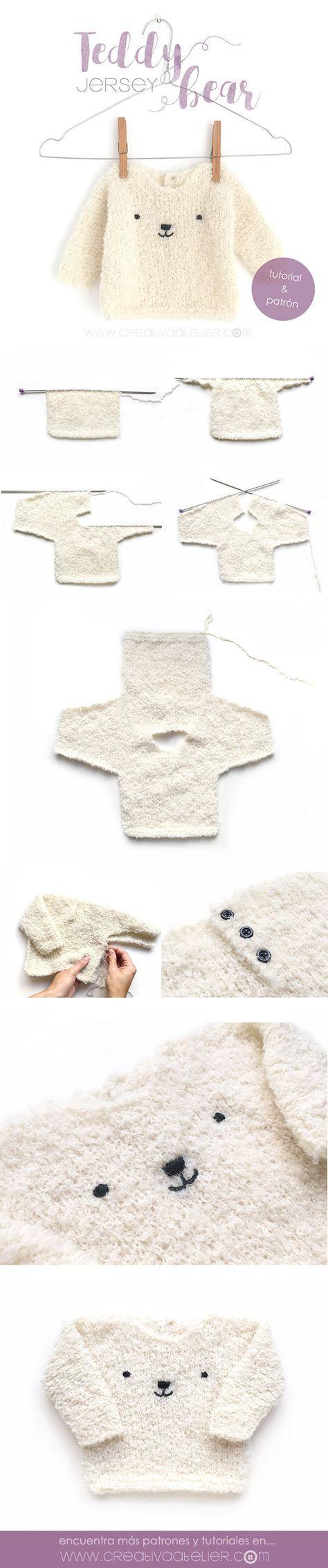 Aprende a tejer un precioso jersey de bebé de punto bobo en tan sólo ...