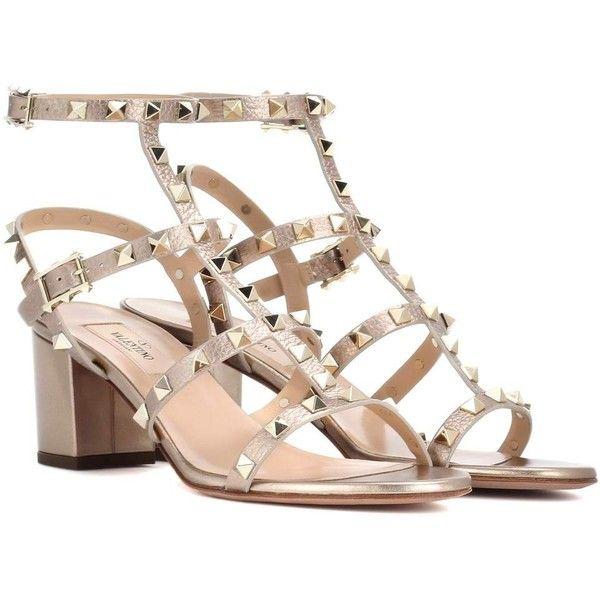 Strappy block heel sandals, Metallic