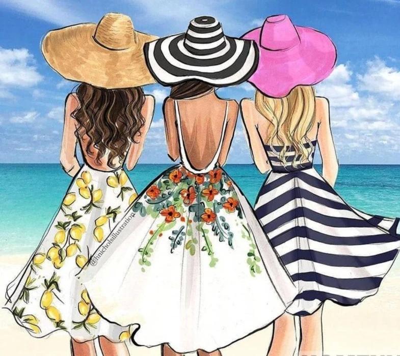 3 Fancy Cartoon Women On Beach | Full Square/Round Drill 5D Diamonds | Scenic Diamond Painting Kit | Ocean View