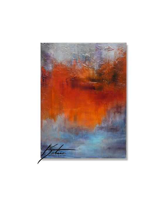 Orange Grey And Blue Painting Abstract Orange Art By Katrinaraeart 250 00 Art Colorful Abstract Art Painting