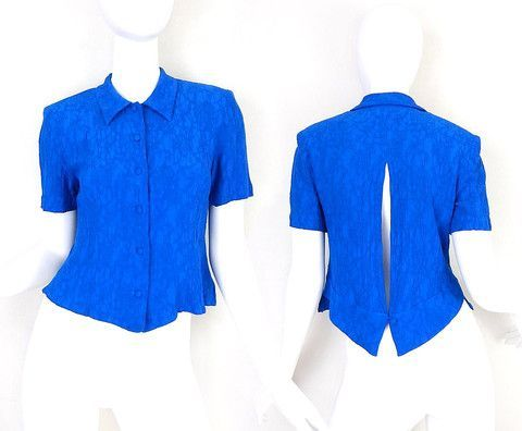 8f16ee93 Sz S Vintage 90s Button Up Split Back Blouse - Cobalt Blue Crinkle Rayon -  red sheer blouse, tie front blouse, white satin blouse *ad
