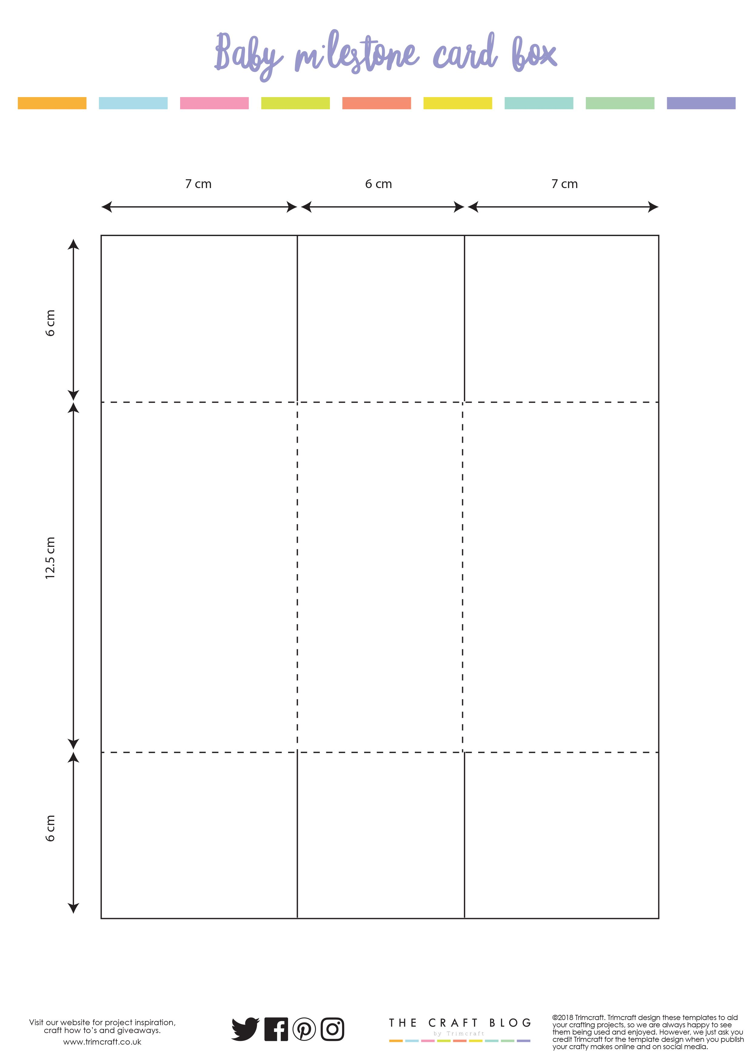 Baby Milestone Card Box Template Card Templates And Scrapbook Svgs