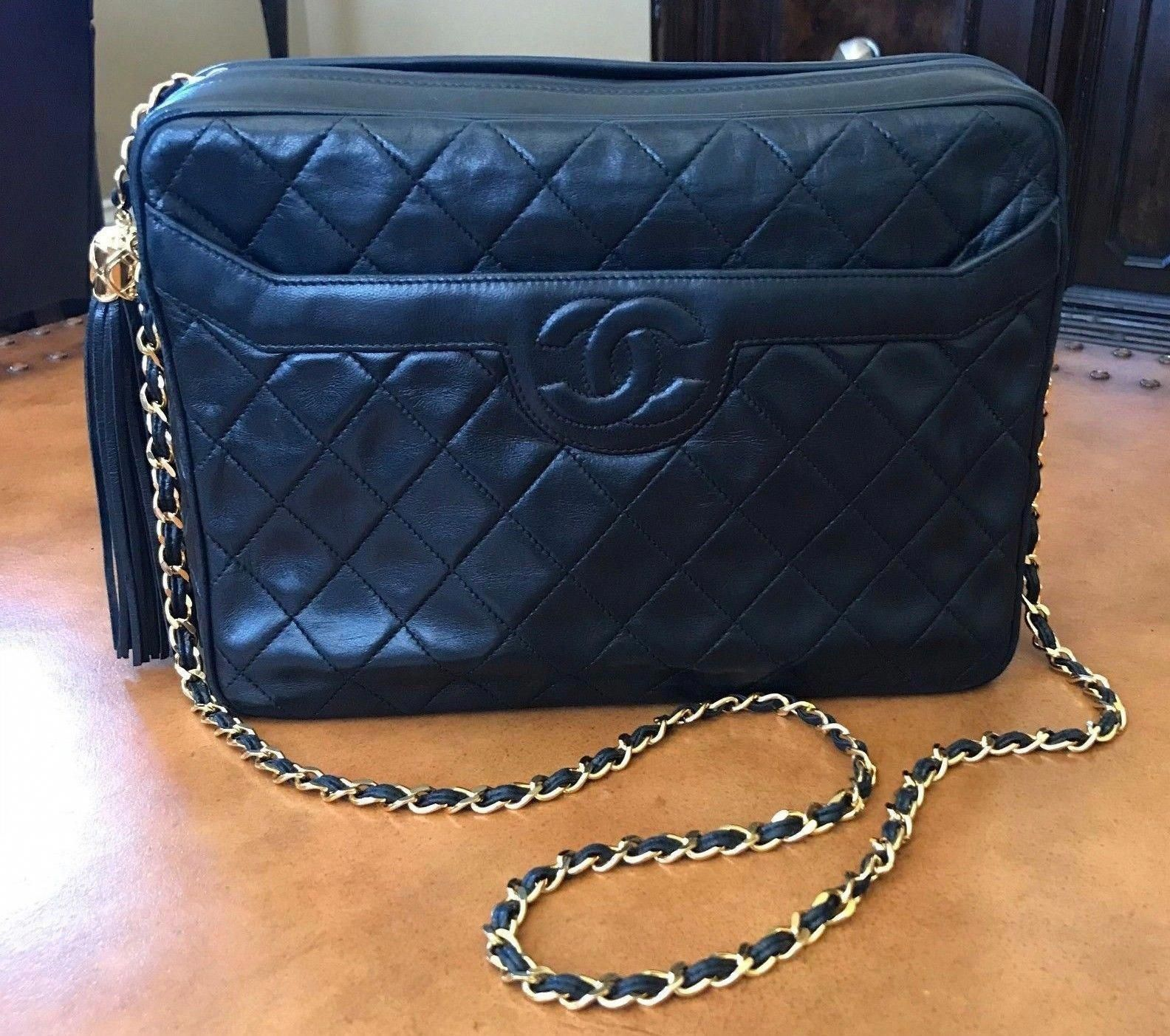 6e7bf8082c36 Pristine Vintage Chanel Black Lambskin Leather Camera Bag - !  #Chanelhandbags #WomensShoulderbags