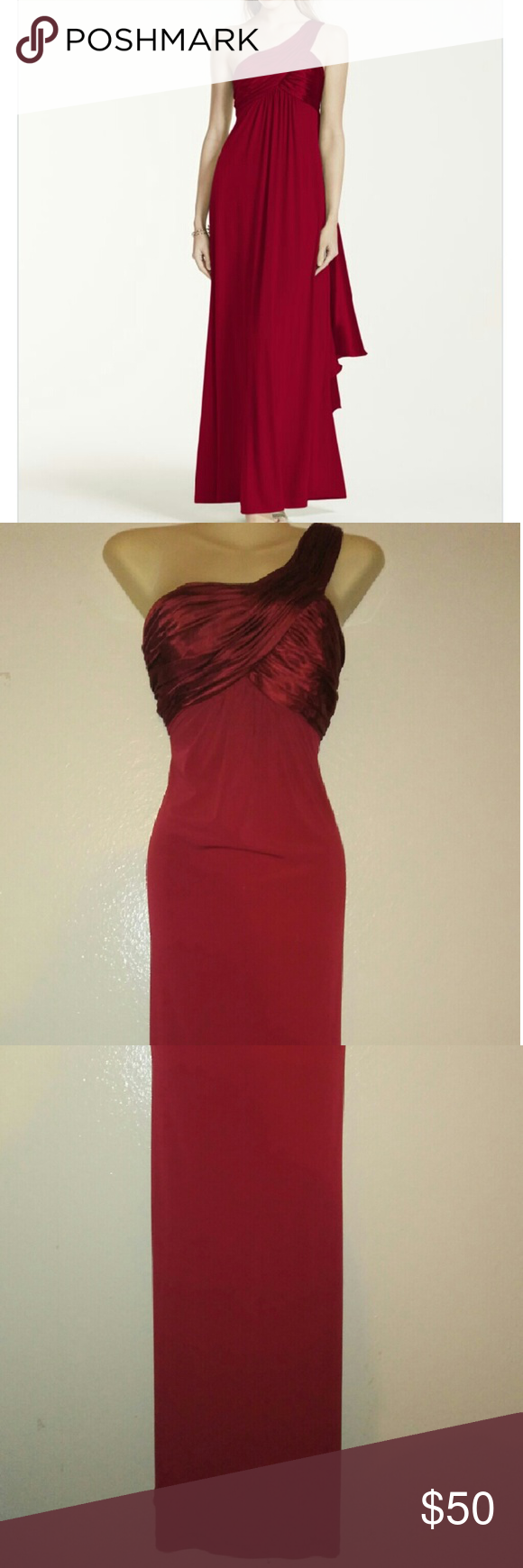 Davids Bridal Jersey Cascade Red Gown Davids Bridal Jersey Cascade red dress. Long, one shoulder, silky bust, zip up, burgandy. Size 10 Formal. Prom. Ball. Davids Bridal Dresses Prom
