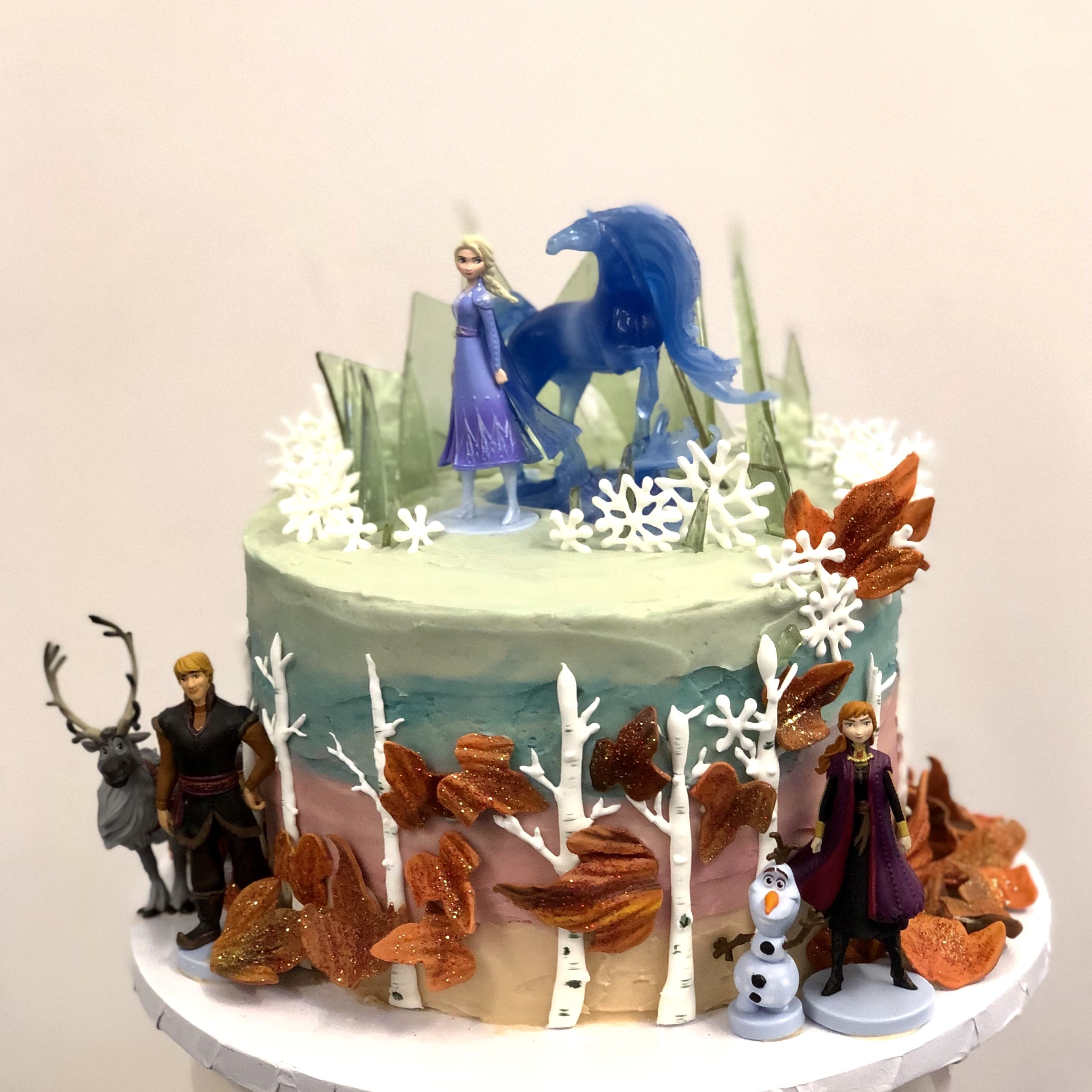 Frozen 2 Cake With Plastic Figurines Fondant Leaves Royal Icing