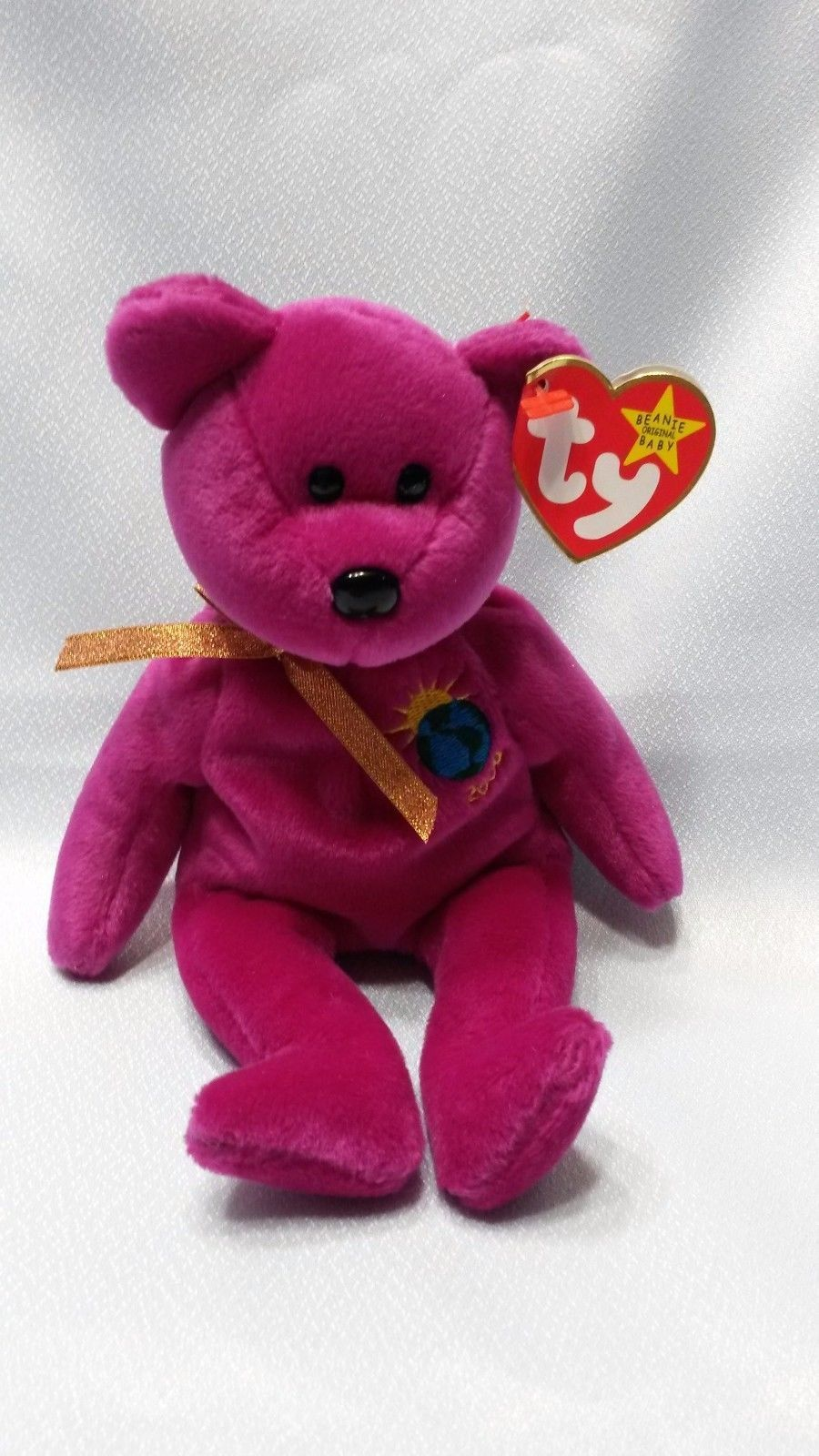 0a5d0a2110a Very Rare Ty Beanie Baby Bear With Errors Millenium Millennium Purple